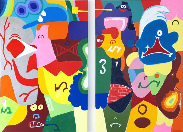 TOJA B-boy faces, 2013. Acrylic on canvas. 183 x 122 cm._72.05 x 48.03 in. each